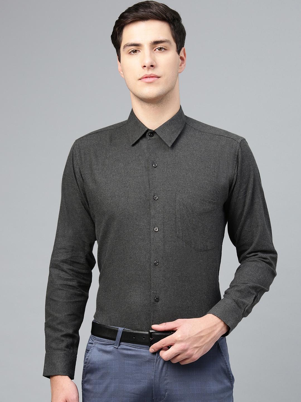 Hancock Men Charcoal Grey Slim Fit Solid Formal Shirt