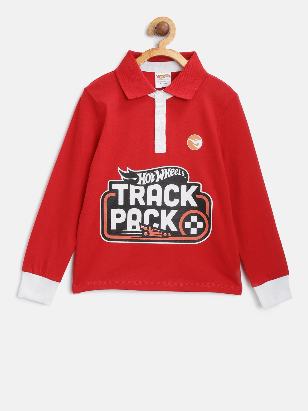 Hot Wheels Boys Red Printed Polo Collar T shirt