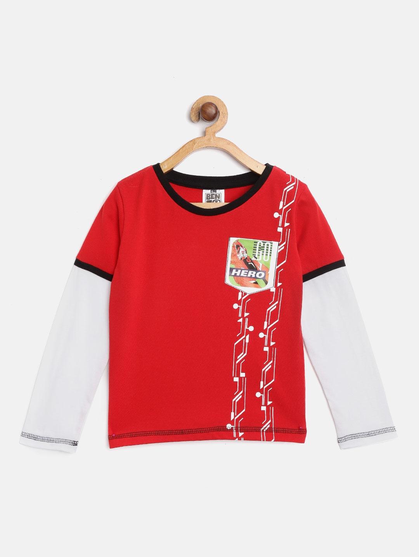 Ben 10 Boys Red Ben 10 Printed T shirt