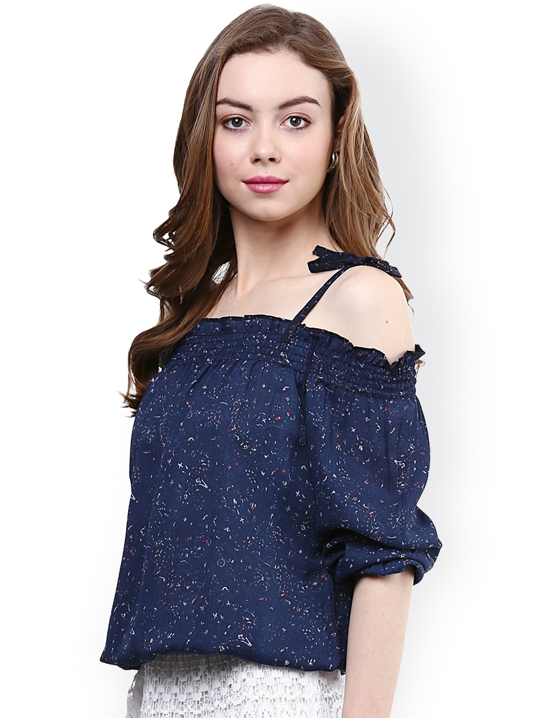 6a901b7cdc4362 Buy RARE Blue Printed Off Shoulder Blouson Top - Tops for Women ...
