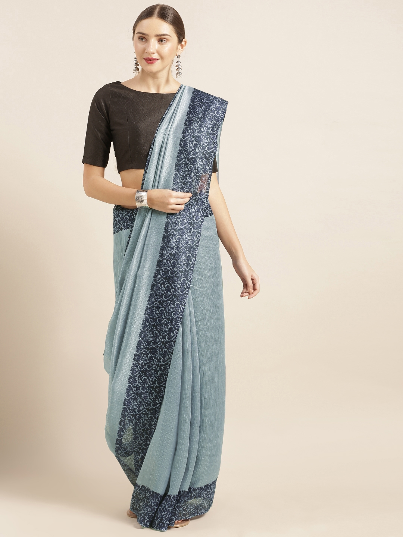 Mirchi Fashion Blue Solid Art Silk Saree