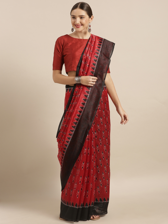 Mirchi Fashion Red   Black Art Silk Printed Saree