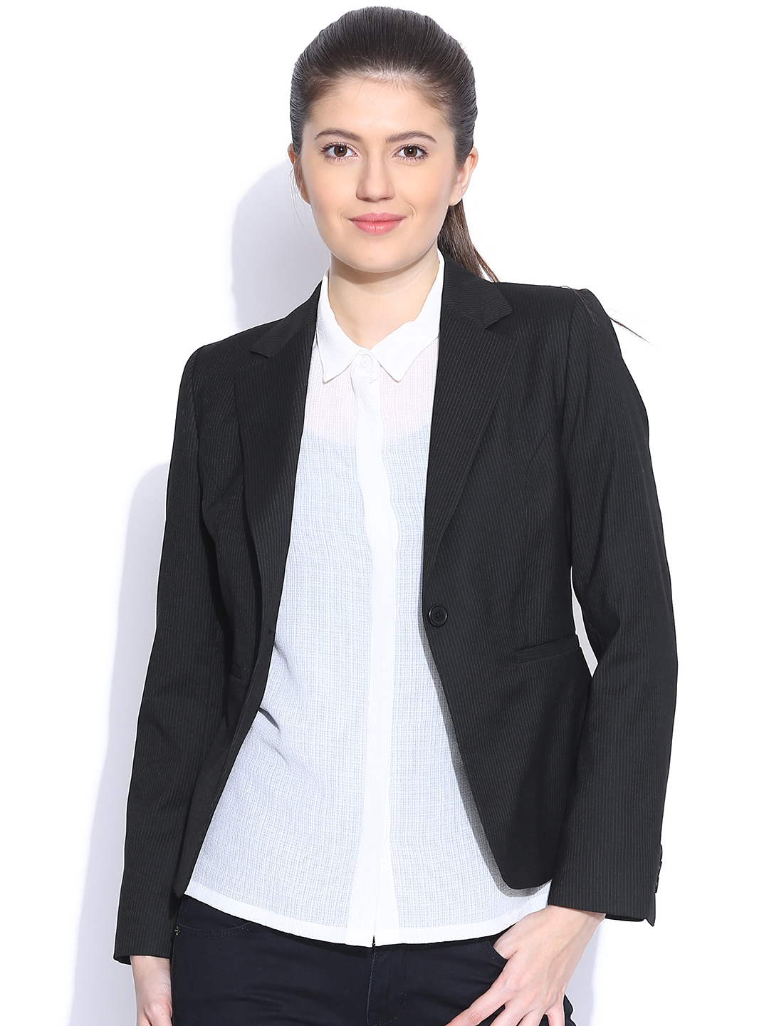 7bc7e298c44d Buy Van Heusen Woman Black Pinstriped Single Breasted Smart Casual ...