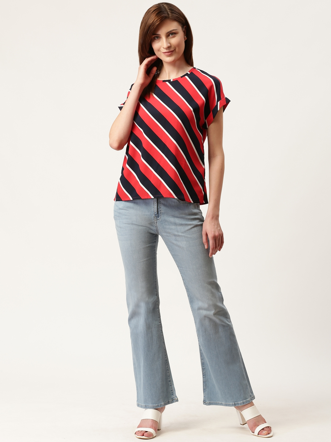 Mast   Harbour Women Red   Black Striped Top