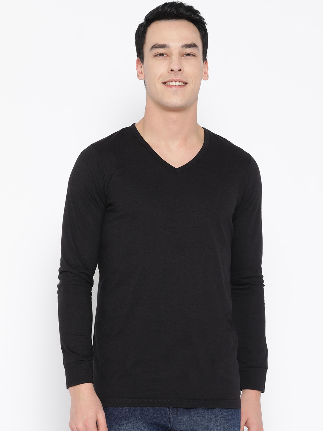 Unisopent Designs Men Black Solid V Neck T shirt