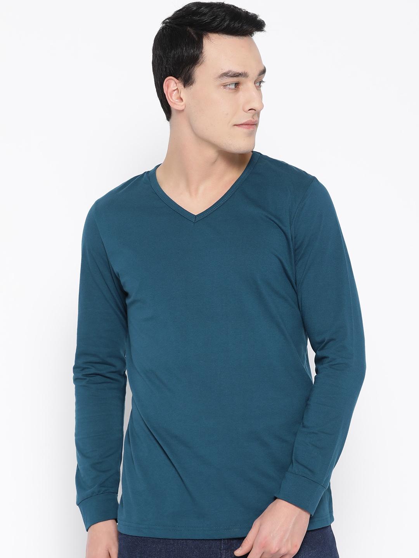 Unisopent Designs Men Teal Blue Solid V Neck T shirt