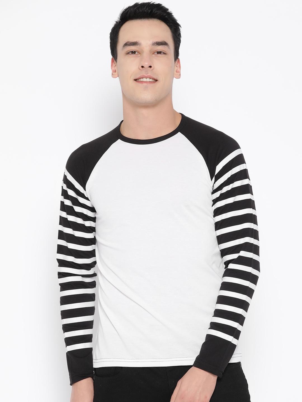 Unisopent Designs Men White   Black Solid Round Neck T shirt