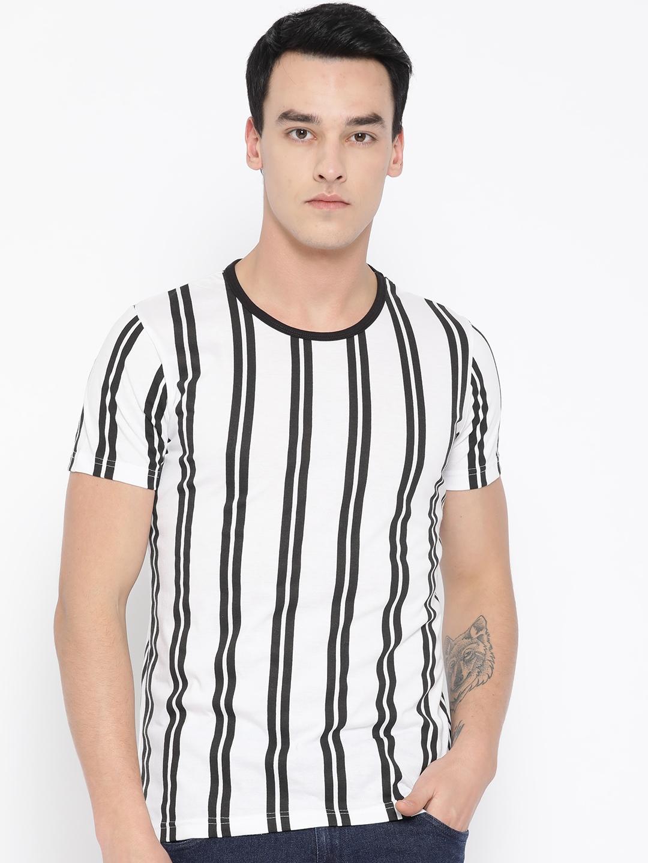 Unisopent Designs Men White   Black Striped Round Neck T shirt