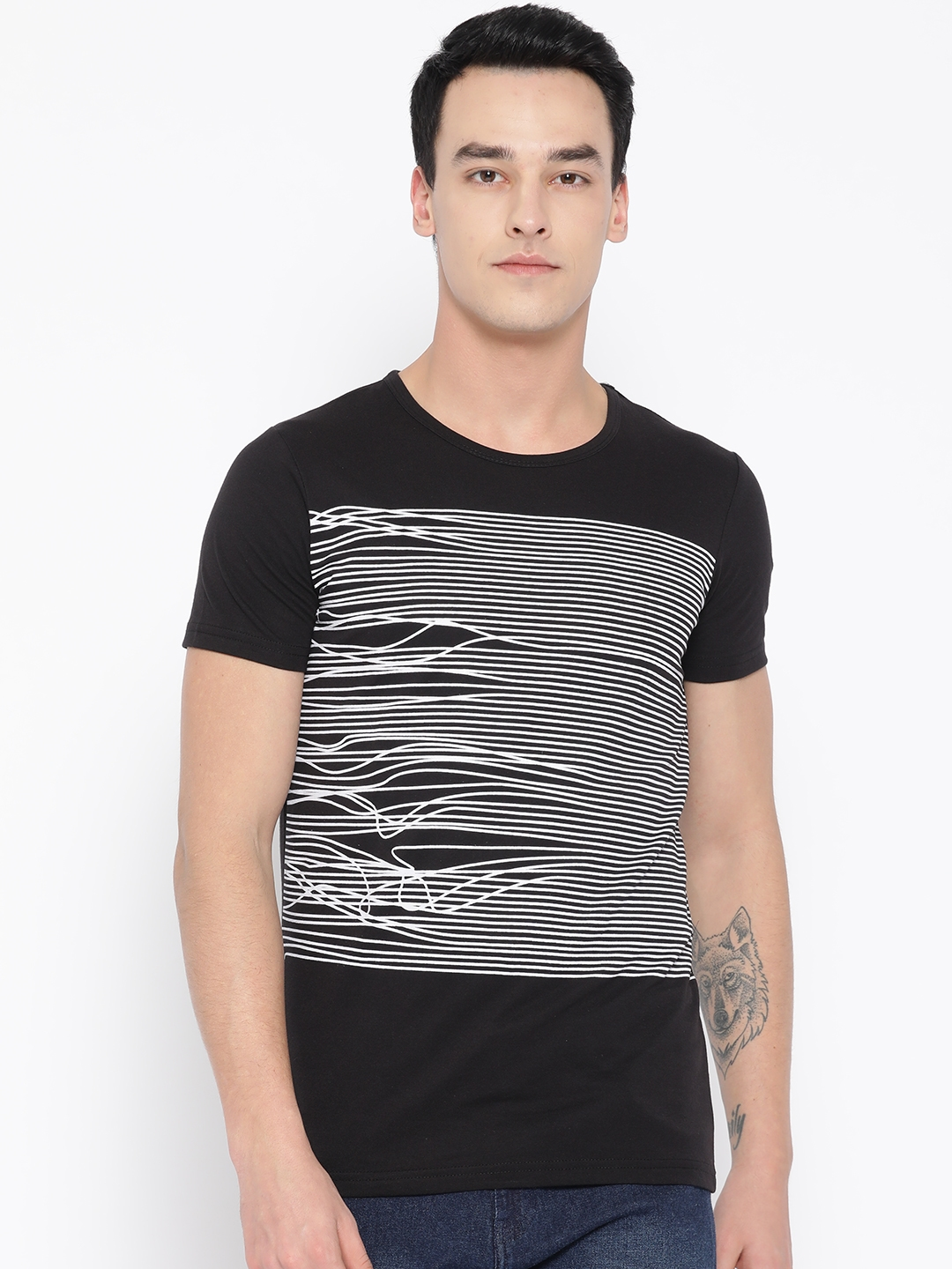 Unisopent Designs Men Black   White Striped Round Neck T shirt