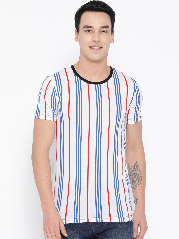 Unisopent Designs Men White   Blue Striped Round Neck T shirt