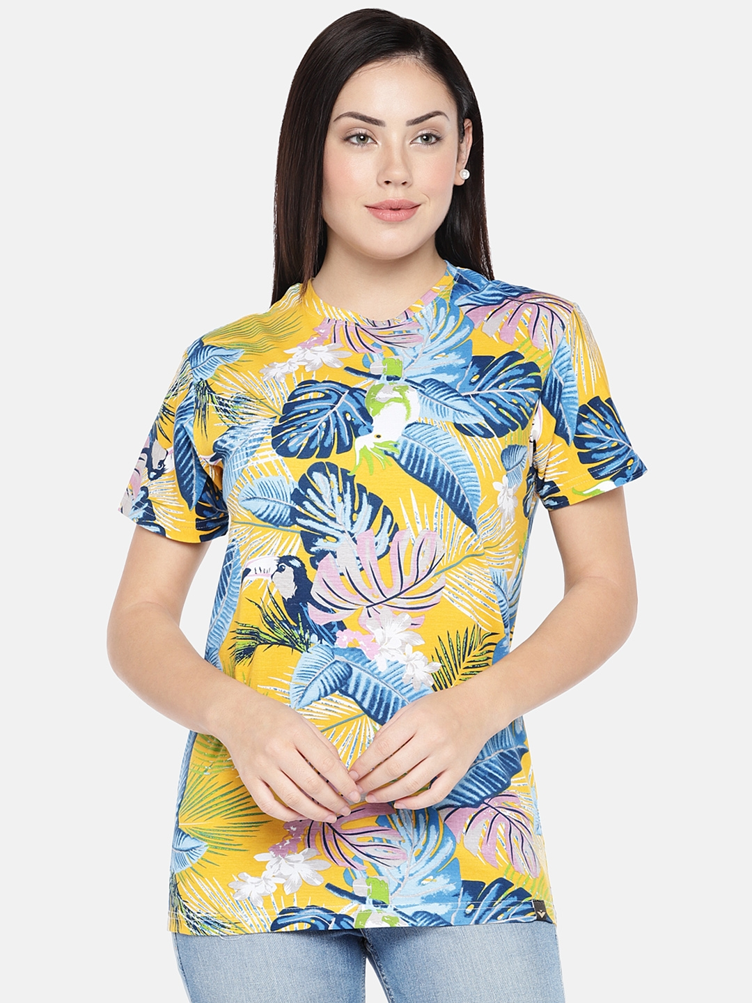 VEIRDO Women Yellow Printed Round Neck T shirt