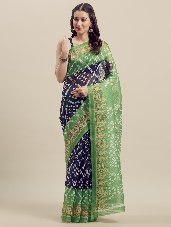 Florence Green   Navy Blue Art Silk Printed Bandhani Saree