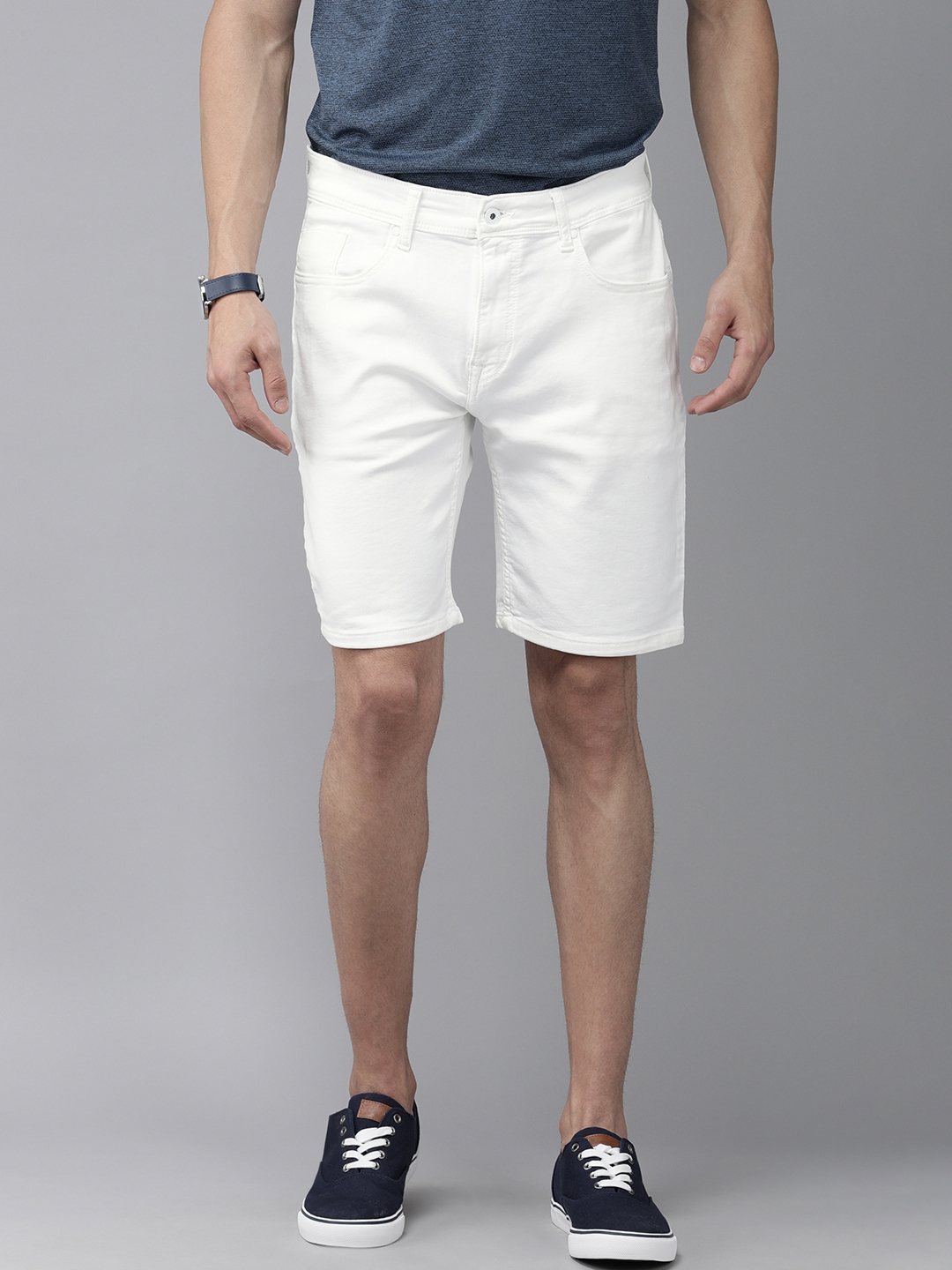 Pepe Jeans Men White Solid Regular Fit Shorts