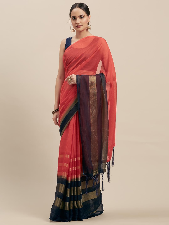 Nanda Silk Mills Red Pure Chiffon Solid Mysore Silk Saree