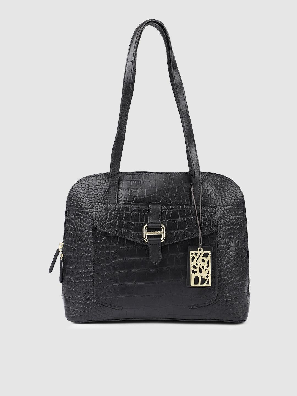 Hidesign Black Animal Textured Leather Shoulder Bag