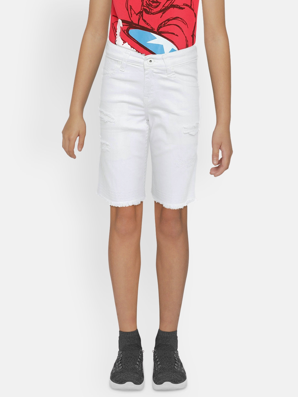 Pepe Jeans Boys White Solid Regular Fit WHISK Denim Shorts