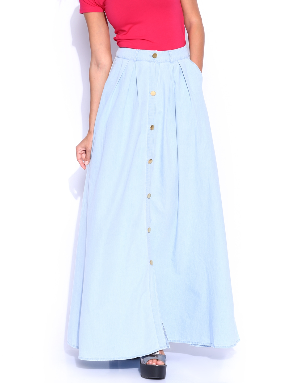 10384644a7 Light Blue Denim Maxi Skirt | Saddha