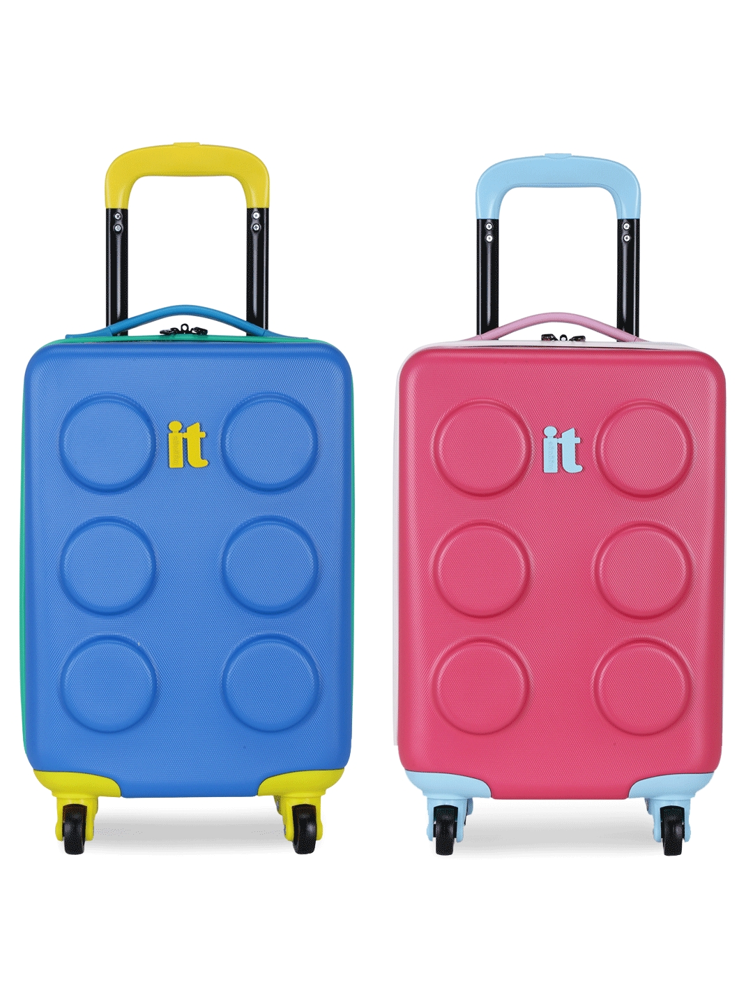 IT luggage Kids Set of 2 Blue   Pink Textured Hard Side Cabin Trolley Bags