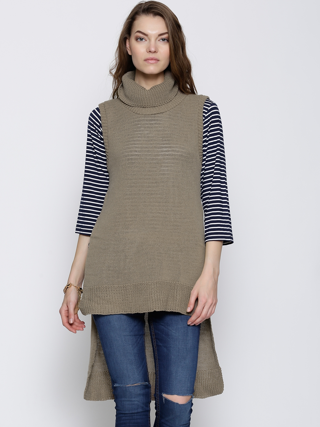 bf83bdfc20a2 Buy Boohoo Taupe High Low Winter Tunic - Tunics for Women 1129910 ...