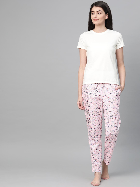 DRAPE IN VOGUE Women White   Pink Printed Night Suit