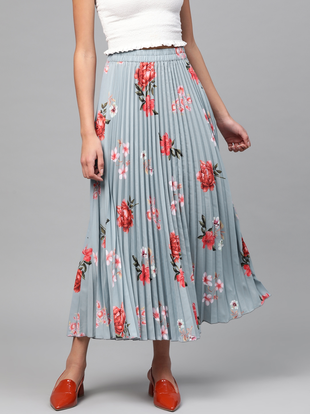 SASSAFRAS Women Grey   Red Accordion Pleated Printed A Line Skirt