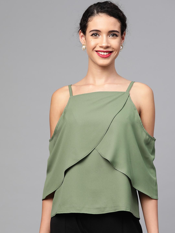 SASSAFRAS Women Olive Green Solid Layered Top