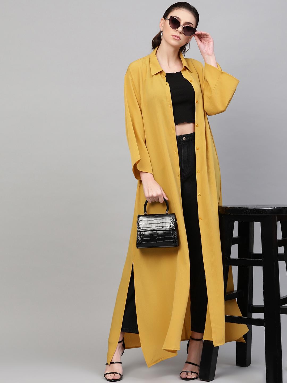 SASSAFRAS Women Mustard Yellow Solid Longline Shirt Style Shrug