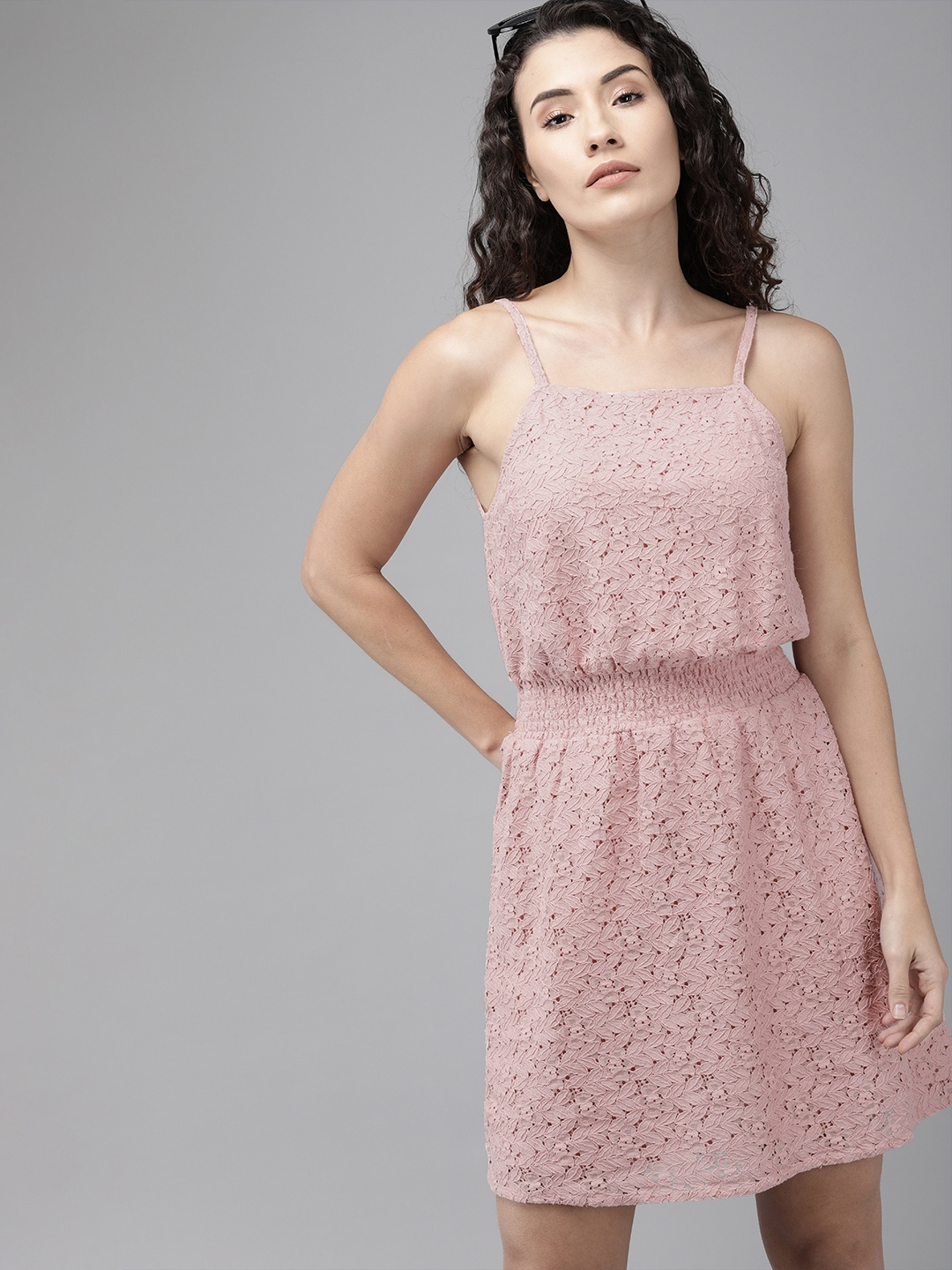 Buy Only Women Pink Lace Fit And Flare Dress Dresses For Women 11382592 Myntra 3 best fitted dress hack styling tutorials: only women pink lace fit and flare dress