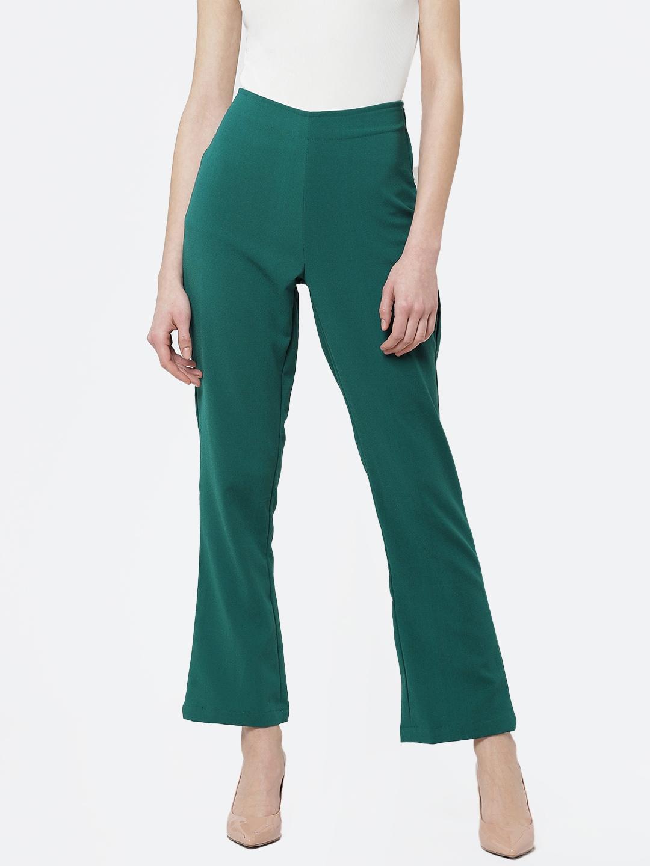 Deewa Women Green Regular Fit Solid Bootcut Trousers