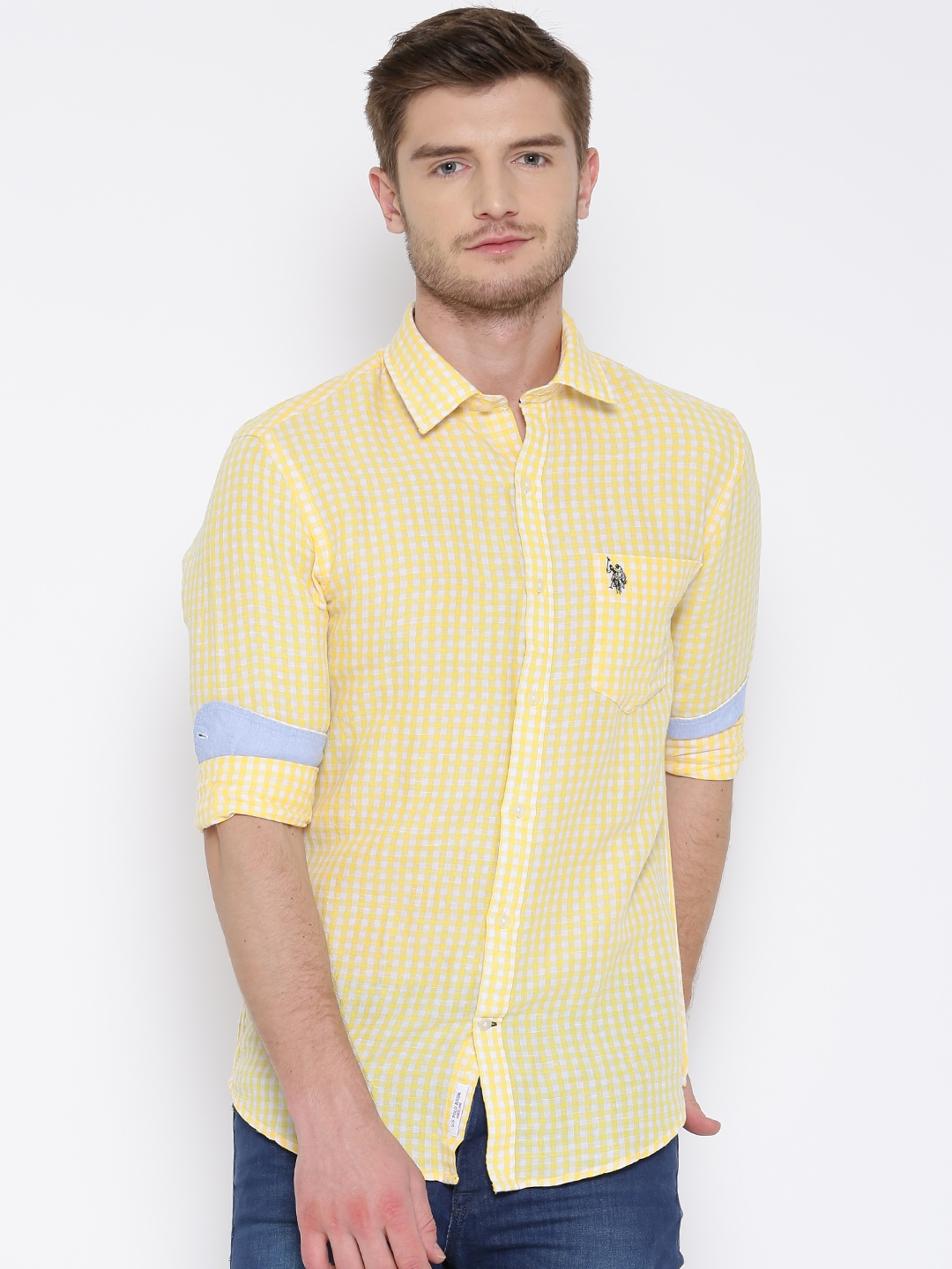 429f7fdd9 Buy U.S. Polo Assn. Yellow Gingham Check Linen Tailored Casual Shirt ...