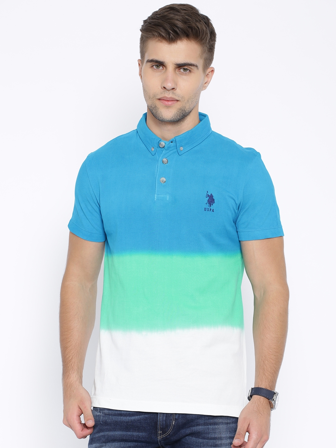 9af0b769 Buy U.S. Polo Assn. Denim Co. Blue & Green Colour Block Polo T Shirt ...