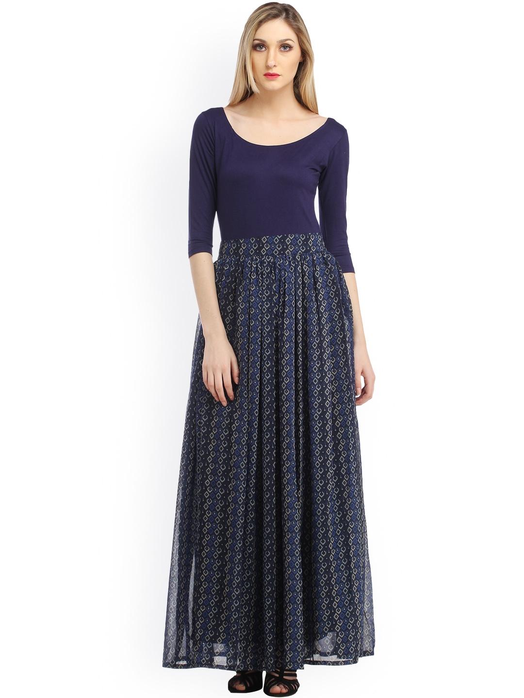 1b87d3bd804c Buy Cation Navy Printed Maxi Dress - Dresses for Women 1144092