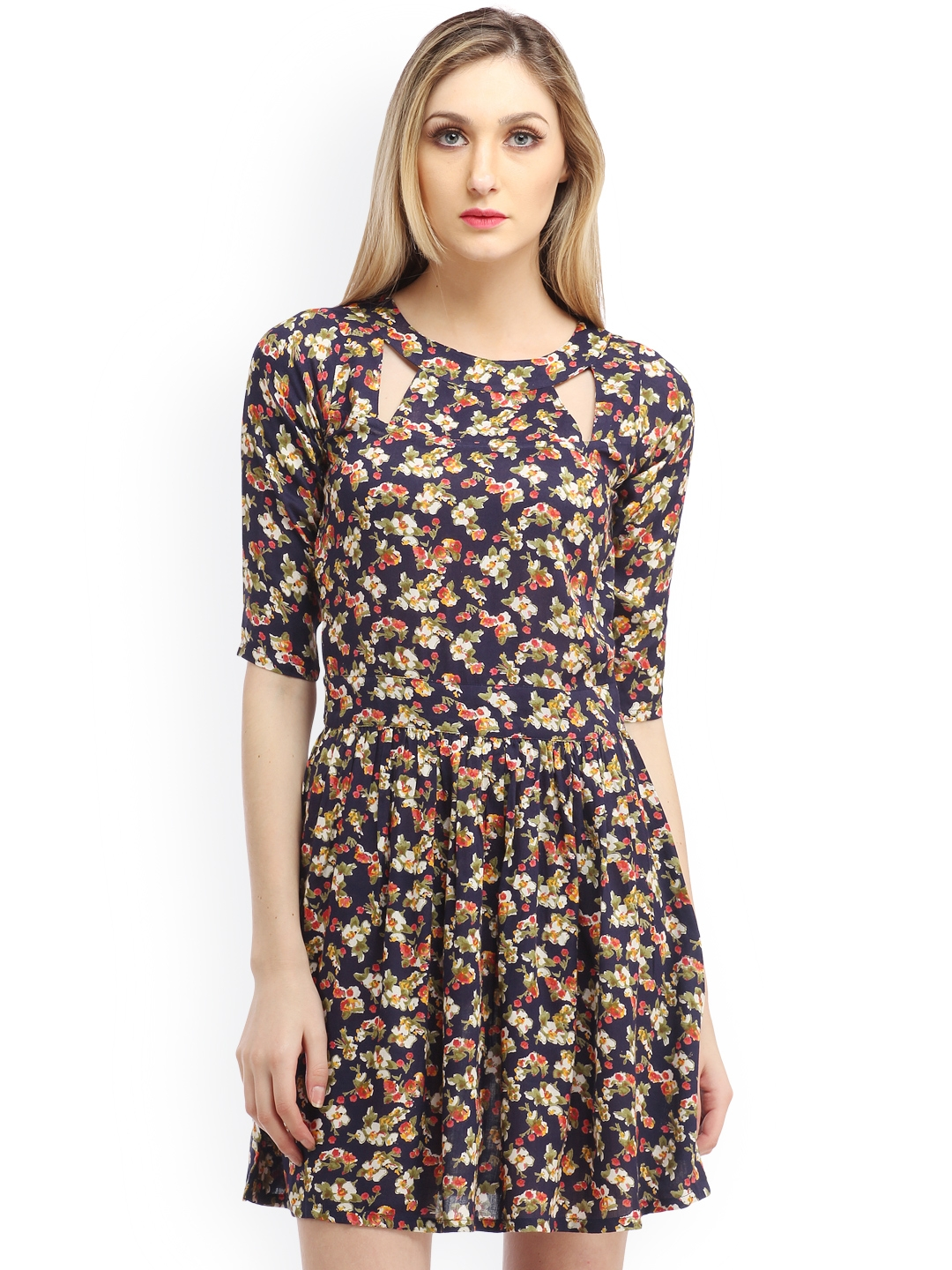 Buy Cation Navy Printed Fit   Flare Dress - Dresses for Women ... c15926fd6