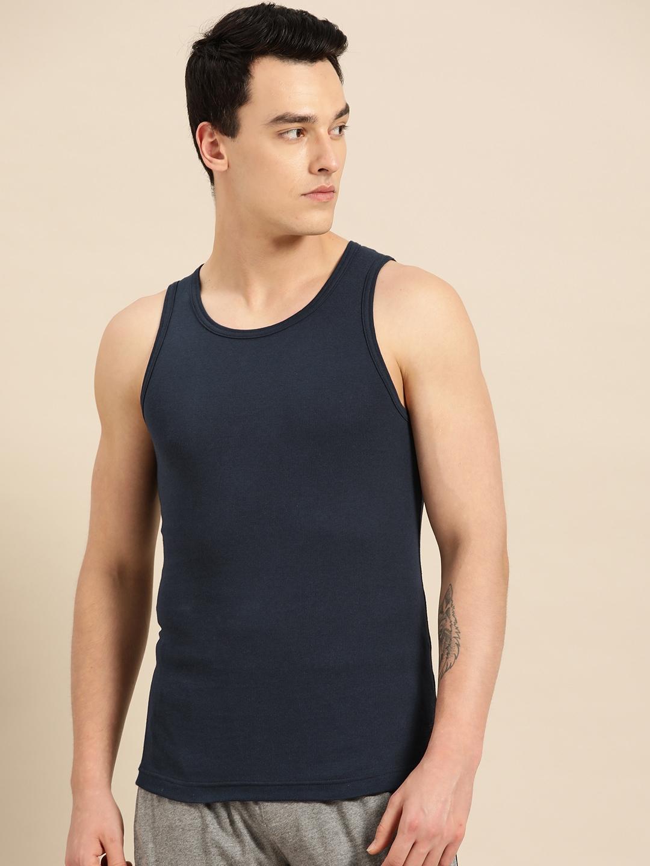 Jockey Men Navy Blue Solid Innerwear Vest