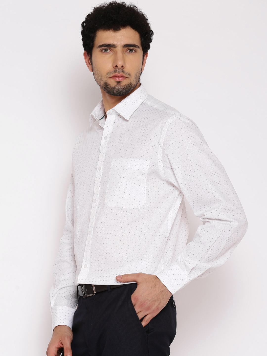 393b7988841 Buy John Players White Printed Slim Fit Formal Shirt - Shirts for ...