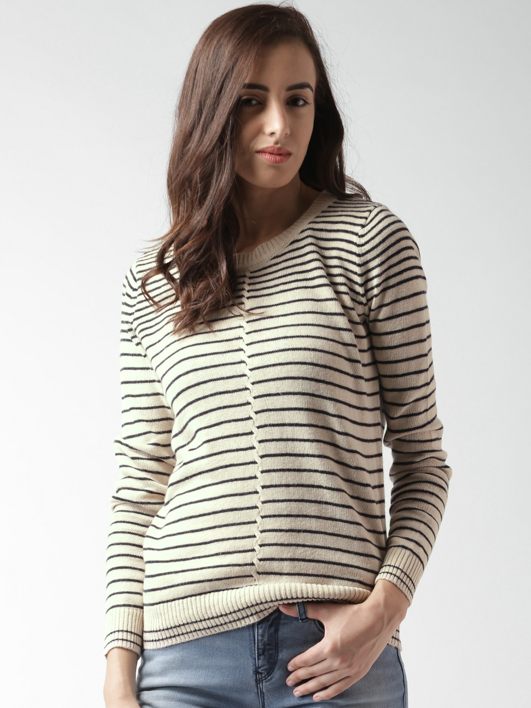42cf2f14c5b7c5 Buy FOREVER 21 Contemporary Beige Striped Sweater - Sweaters for ...