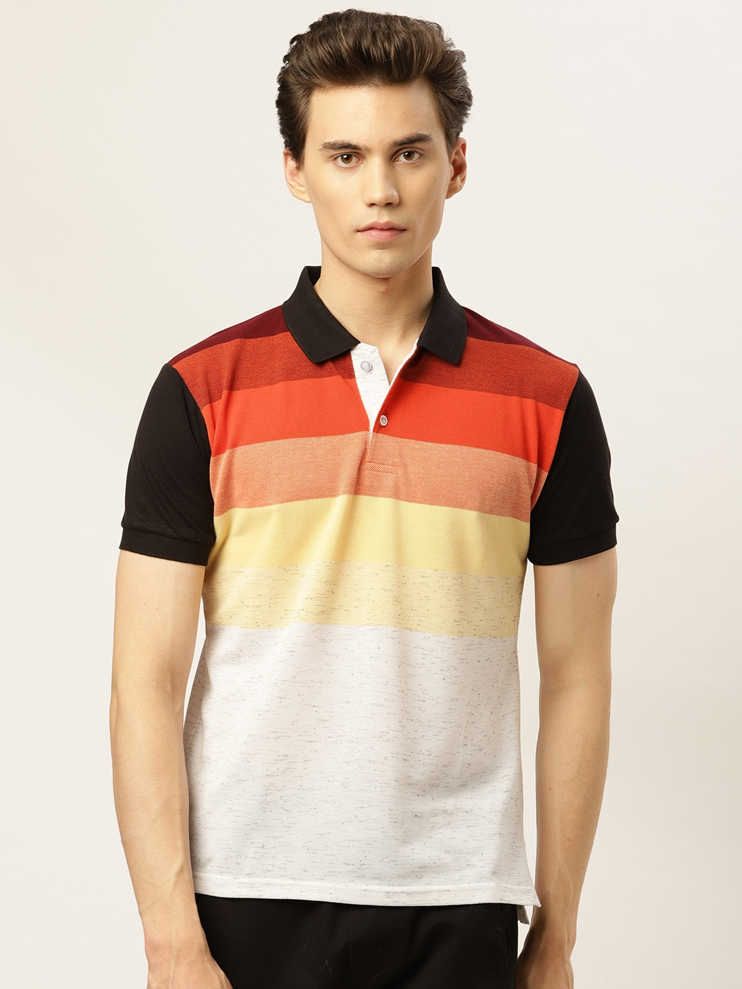 GHPC Men White   Red Striped Polo Collar T shirt