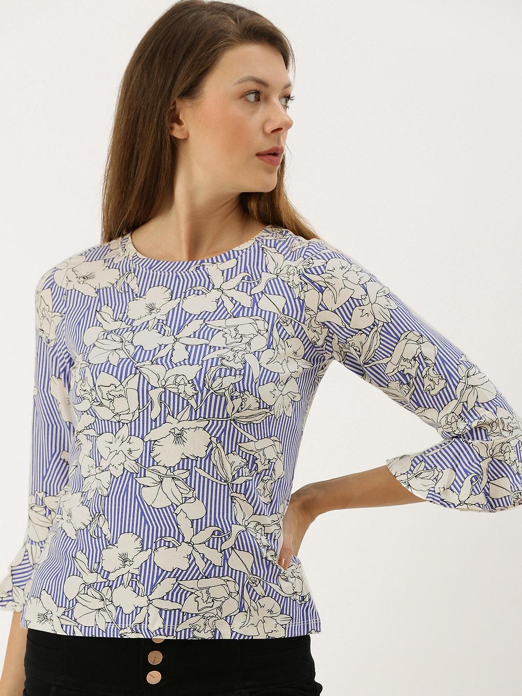 AND Women Blue Printed Regular Bell Sleeves Top