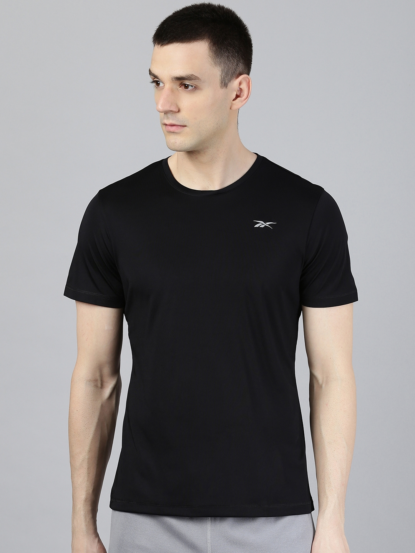 Reebok Men Black Solid Short Sleeve Running T shirt