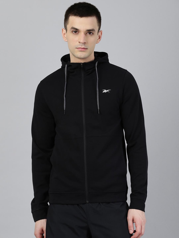 Reebok Men Black Solid Workout Ready Hooded Sweatshirt