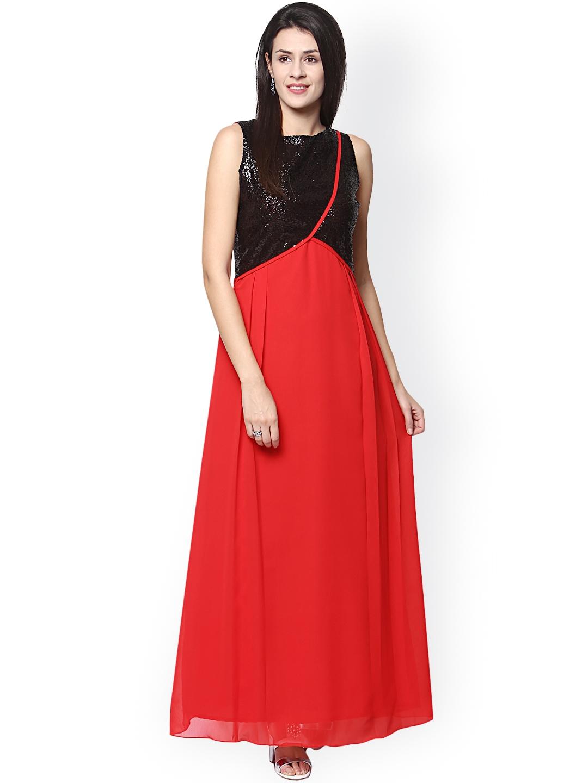 Athena Black   Red Maxi Dress