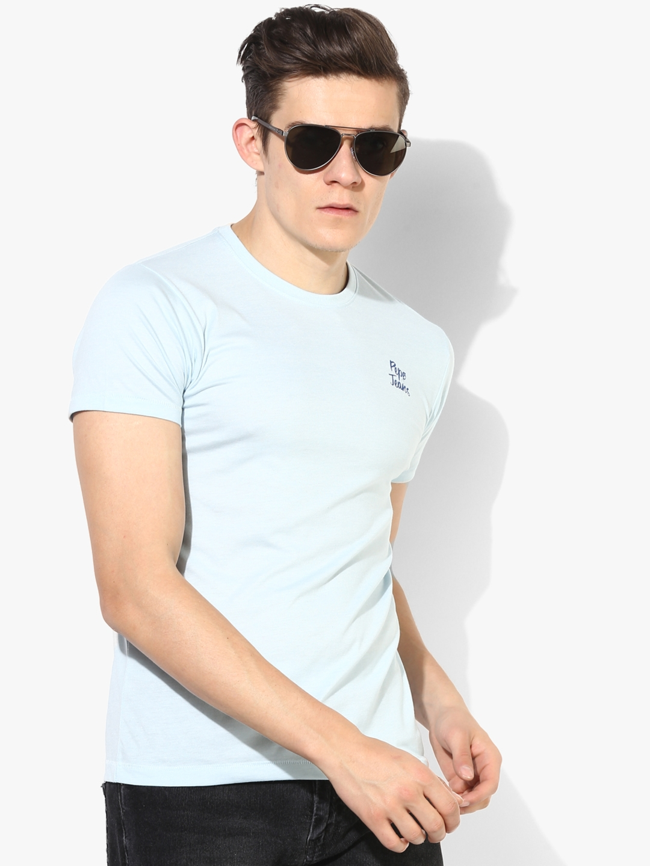 Pepe Jeans Men Light Blue Solid Round Neck T Shirt