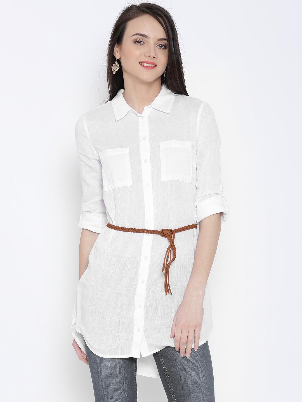 Buy Vero Moda White Long Shirt With Belt - Shirts for Women 1159176 ... 6cb0fe640ff