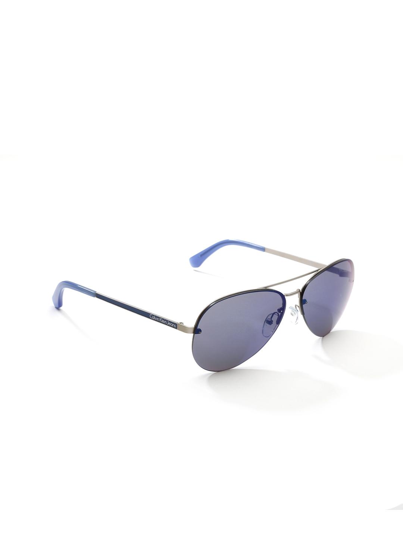 db6fb602726 Calvin Klein Jeans Unisex Mirrored Half-Frame Aviator Sunglasses CKJ119S 426