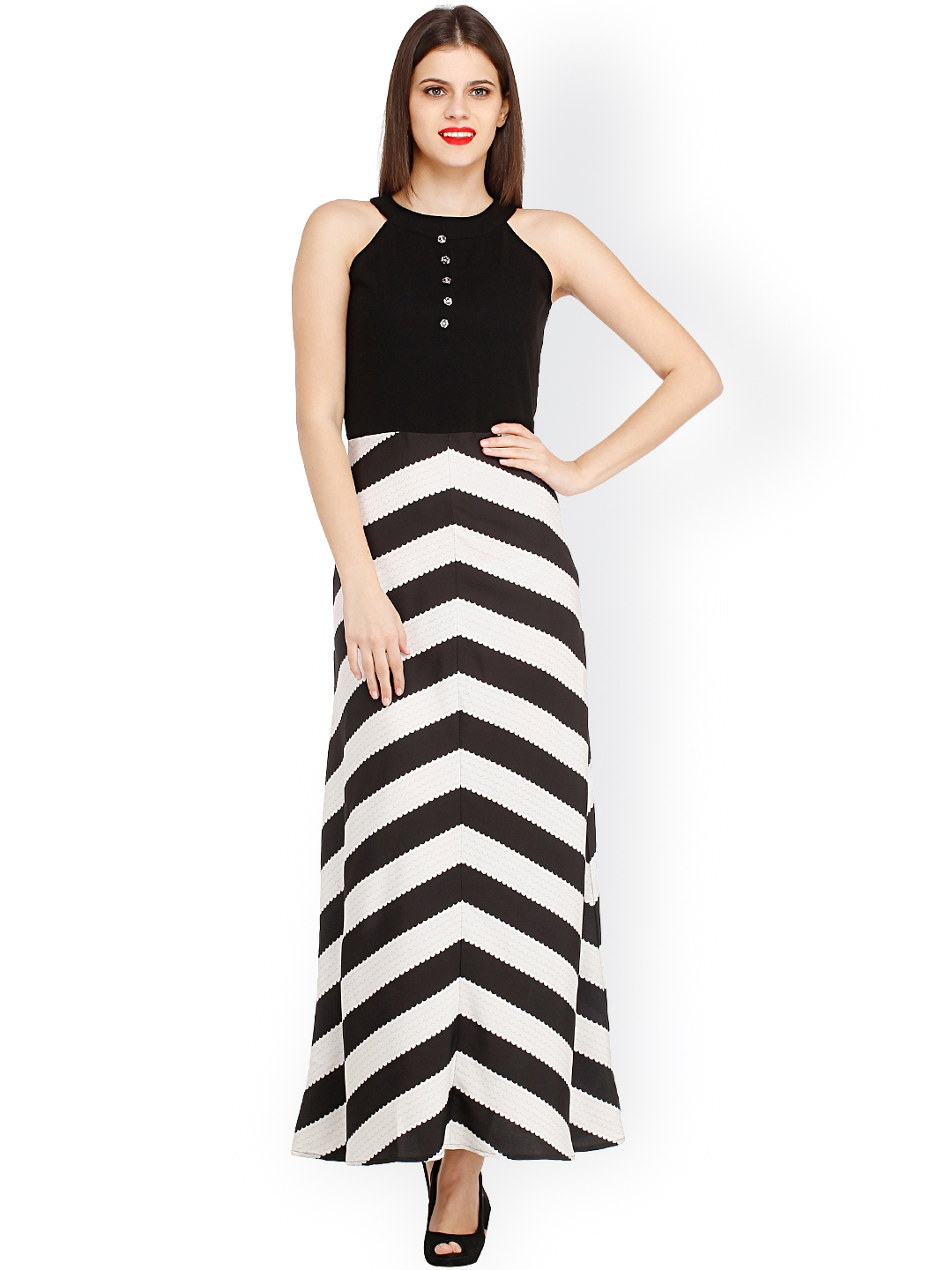 Buy Cottinfab Black   White Striped Maxi Dress - Dresses for Women ... 487528be8