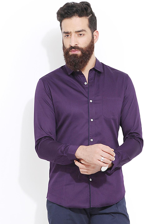 Buy MR BUTTON Purple Slim Fit Semi Formal Shirt - Shirts for Men ...