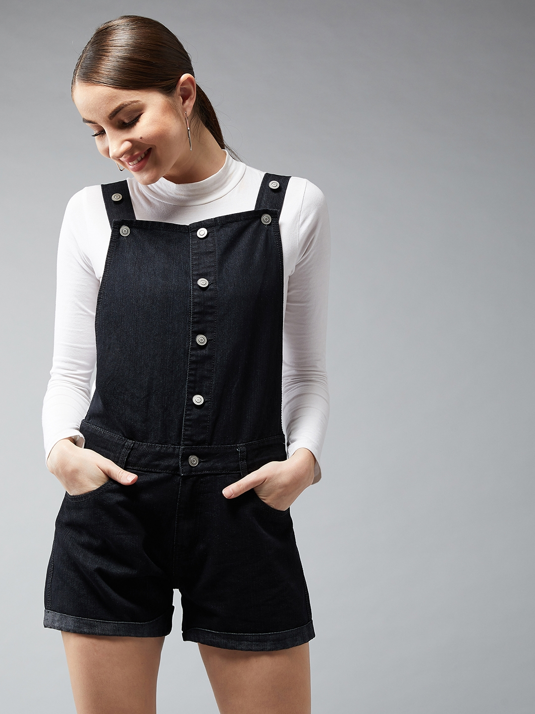 DOLCE CRUDO Women Black Solid Living My Style Denim Dungaree