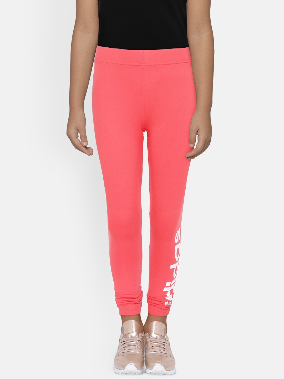 ADIDAS Girls Coral Pink Solid Essentials Linear Tights