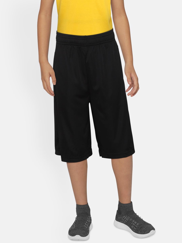 ADIDAS Boys Black Solid Linear Branded Shorts
