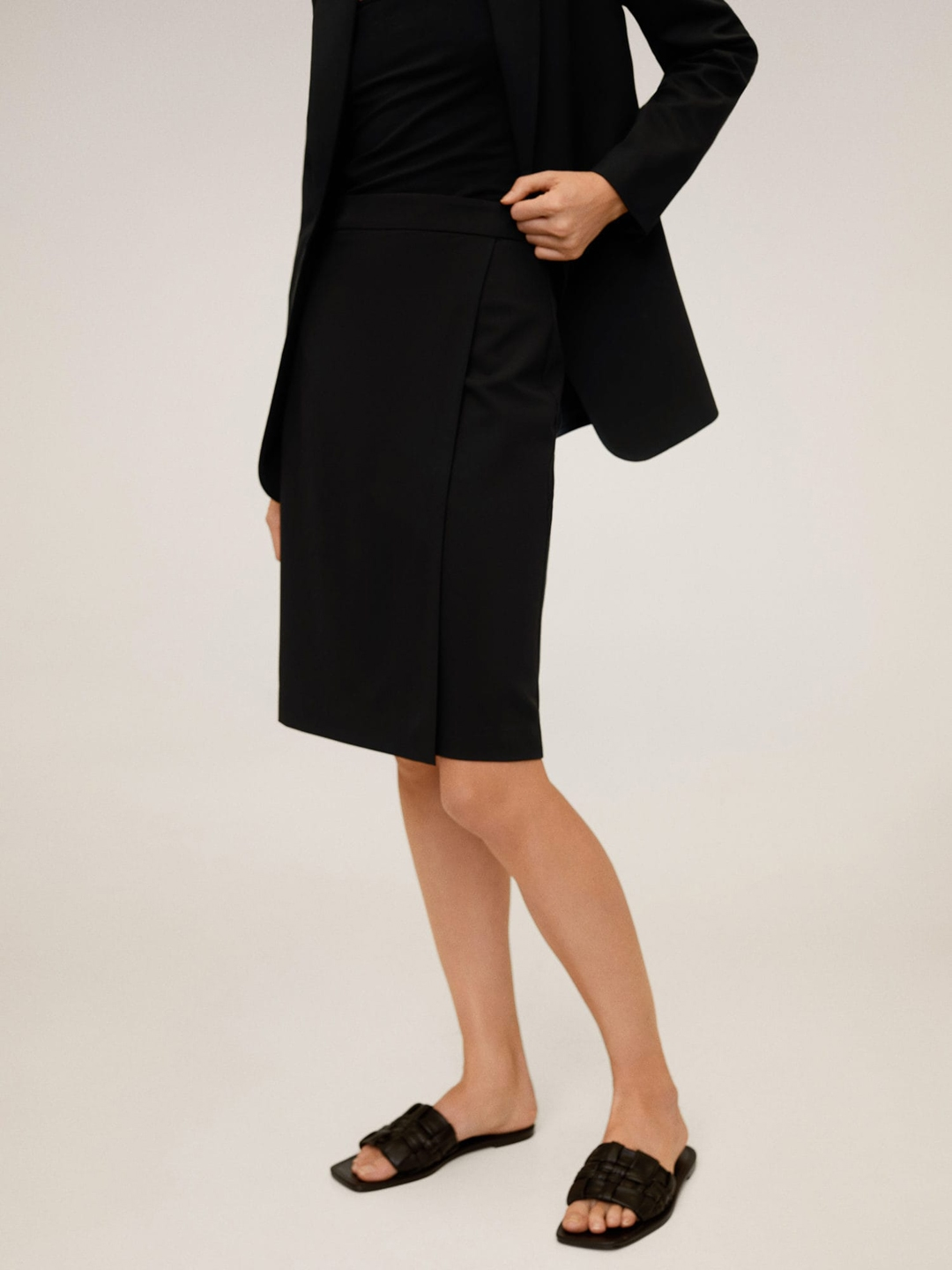 MANGO Women Black Solid Layered Straight Skirt